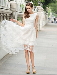 Women's Solid Color White Dresses , Casual Round Sleeveless