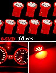 10x t10 vermelho W5W 2825 158 168 192 921 906 8-SMD instrumento velocímetro luz