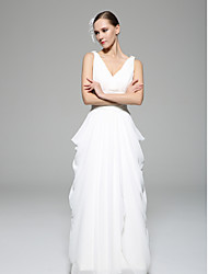 Sheath/Column Wedding Dress - White Floor-length Straps Chiffon