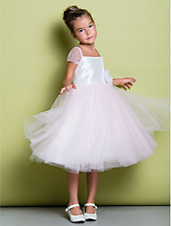 A-line Knee-length Flower Girl Dress - Taffeta / Tulle Short Sleeve Square with Flower(s)