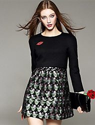 여성의 꽃패턴 드레스 라운드 넥 긴 소매 무릎 위 니트웨어
