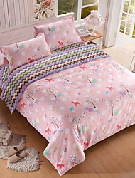 Pink Tree And Wave Designs Double Side Patents Thick Sanded Fabric for Autumn/Winter Set of 4pcs Queen/Twin Size