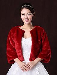 Fur Coats / Fur Wraps Coats/Jackets 3/4-Length Sleeve Faux Fur Burgundy Wedding / Party/Evening Scoop 31cm Open Front