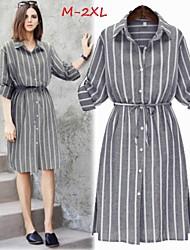 Vestidos ( Poliéster )- Casual / Bonito / Trabajo Cuello de camisa ½ Longitud de manga para Mujer