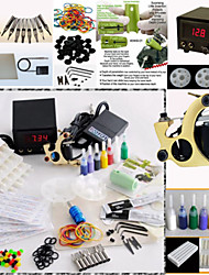 Tattoo Gun Kit Digital Power Supply Machine 20 Needles 8 Steel Tips 7 Inks Set Professional