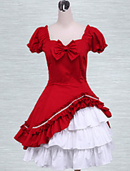 Cotton Red Lolita Two-layer Bow Classic Lolita Dress