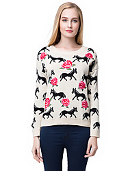 Women Knitted Sweater Rose Embroidery Horse Pattern Warm Pullover Casual Jumper Tops