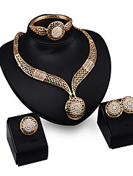 May Polly   The new European jewelry exaggerated Necklace Earrings Ring Bracelet Set
