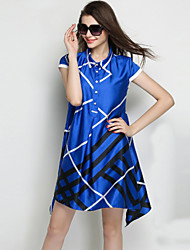 TS Casual/Work/Plus Sizes Inelastic Short Sleeve Above Knee Dress (Rayon)