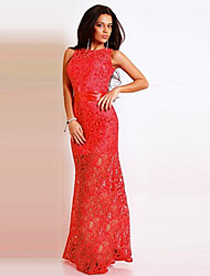 Women's Lace Blue / Red / White Dresses , Lace Round Sleeveless