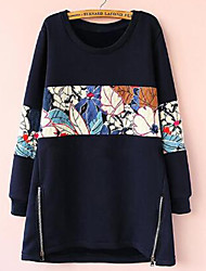 OWMM Women's Print Blue Sweats & Hoodies , Sexy / Casual / Cute / Party / Work Round Long Sleeve plus size