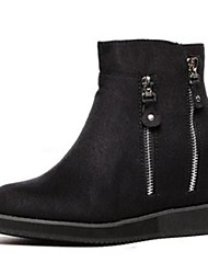 Women's Shoes Suede Flat Heel Closed Toe Boots Casual Black