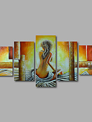 pintado a mano pintura al óleo sobre lienzo de pared arte niñas de nuevo beige resumen cinco panel listo para colgar