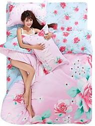 Lovely Pink Flower Bedding Set Of 4pcs For Four Season Use