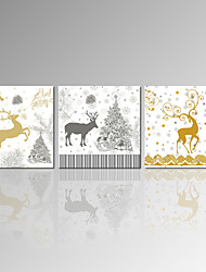 VISUAL STAR®Christmas Gift Stretched Canvas Prints Carton Deer Picture Print for Home Decor Ready to Hang