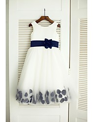 A-line Tea-length Flower Girl Dress - Satin / Tulle Sleeveless Jewel with