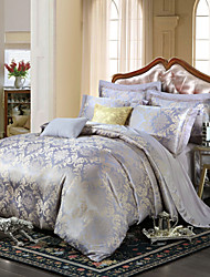 Royal Retro Style Grey Purple Jacquard Bedding Set 4-Piece