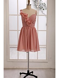 Knee-length Chiffon Bridesmaid Dress A-line Straps with Flower(s) / Side Draping