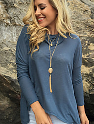 T-Shirt Da donna Spacco A cotta Manica lunga Cotone
