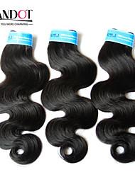 """3 Stück lot 12 """"-30"""" indian Körperwelle reine Haareinschlagfäden natürliche schwarze 1b # remy Menschenhaar Webart wellenförmige Bündel"""