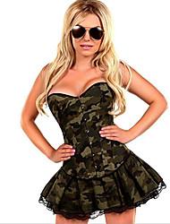 Feminino Vestido com Corpete Roupa de Noite Poliéster