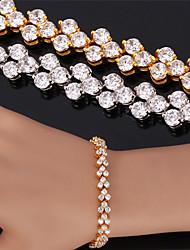 Vogue Luxury AAA+ Zirconia Cubic Vintage Bracelet Bangle 18K Gold Platinum Plated Jewelry High Quality 17CM 19CM