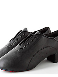 Men's Dance Shoes Heels Leatherette Low Heel Black