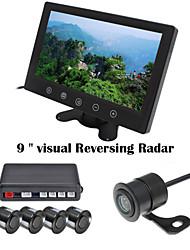 renepai® 9 pouces appareil d'affichage des capteurs de stationnement lcd vidéo voiture 4 de la sonde inverser radar sauvegarde kit alarme