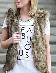 Women Elegant Faux Fur Top , Belt Not Included Fur Vest
