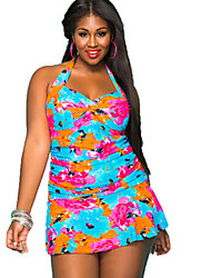 Women's Halter One-pieces , Floral / Bandage Wireless Polyester Multi-color