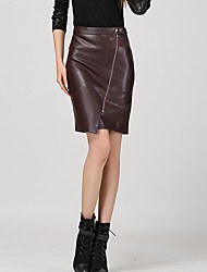 Women's Solid Black / Brown Skirts , Bodycon / Casual Above Knee