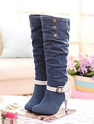 Women's Shoes Leatherette Stiletto Heel Heels / Round Toe Boots Outdoor / Office & Career / Casual Black / Blue / Navy