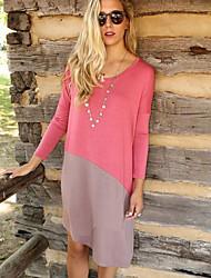 Women's Patchwork Color Block Irregular Dress , Casual Round Neck Long