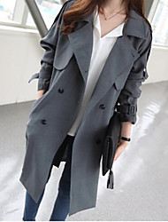 DUIQI Women's Solid Color Red / Gray Coats & Jackets , Vintage / Sexy / Party / Work Shirt Collar Long Sleeve