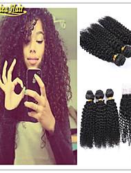 4 pcs / lot meilleurs cheveux qaulity brésilien bouclé cheveux humains 100% non transformés vierge tissage de cheveux humains avec