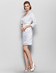 Sheath/Column Mother of the Bride Dress - Ivory Knee-length 3/4 Length Sleeve Satin