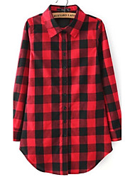 Women's Check Red / Black Shirt,Shirt Collar Long Sleeve