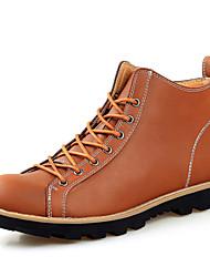 Черный Коричневый Хаки-Мужской-Для офиса Повседневный Для занятий спортом Work & Safety-Кожа-На плоской подошве-Удобная обувь
