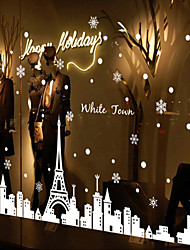 Window Stickers Window Decals Style Christmas White Iron Tower Town Window Glass Decoration PVC Window stickers