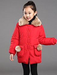 Girl's Fur Collar Long Cotton Padded