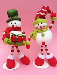 "2pcs/set 35CM/13.7"" Christmas Decoration Gift Santa Claus Snowman Doll Plush Toy New Year Gift"