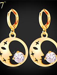 U7® Women's Beauty Face Fashion Earrings 2015 New Fashion Jewelry Platinum/18K Gold Plated Cubic Zirconia Drop Earrings
