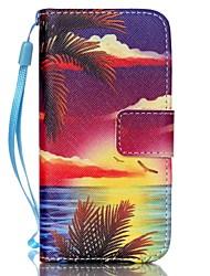 mar ao pôr do sol padrão caso de telefone pu material de couro cartão da aleta para iphone 5c