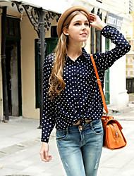 Mulheres Camisa Colarinho de Camisa Manga Longa Botão Chifon Mulheres