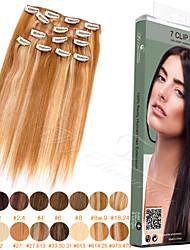 """ty.hermenlisa 14 """"зажим в шиньоны Длинные прямые Реми перуанский человеческих волос, 7 шт, 105 г"""