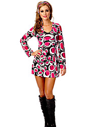 Women's Casual/Daily A Line Dress,Print Round Neck Mini Long Sleeve Multi-color Polyester Fall