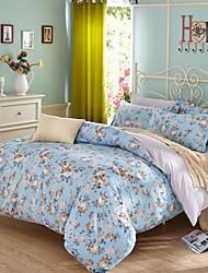 Blue Flower Cotton Bedding Set Of 4pcs Four Seasons Use