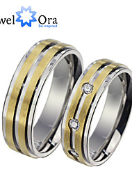 New Noble Fashion Titanium Steel CZ Stone Wedding Gold Ring Couples For Women&Man