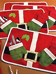 Double Red Christmas Products Table Mat Santa Eat Mat