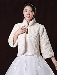 Fur Coats / Fur Wraps / Wedding  Wraps Coats/Jackets 3/4-Length Sleeve Faux Fur Ivory Wedding / Party/Evening High Neck Clasp